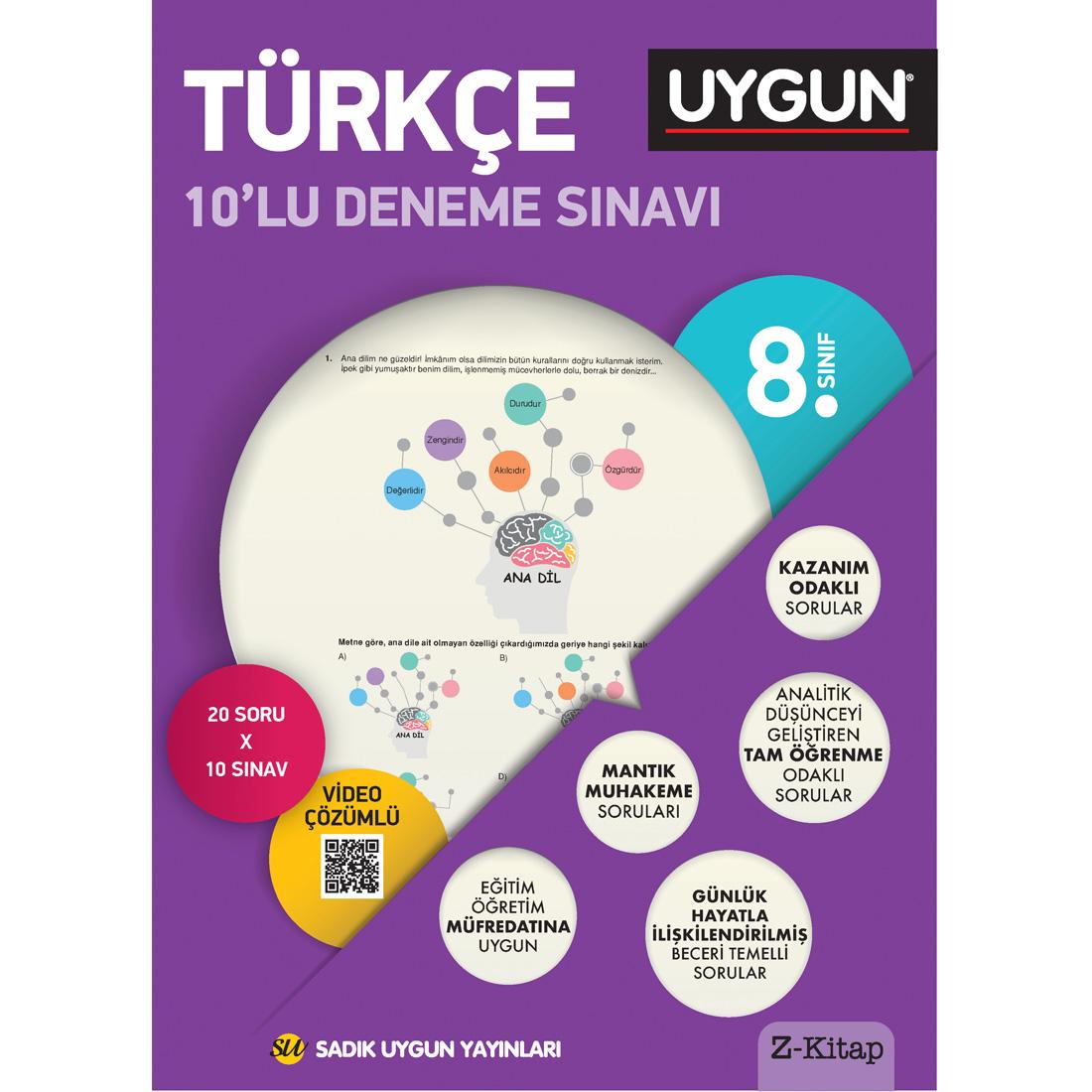 8.Sınıf 8 Deneme Kitabı 10'Lu Türkçe Sadık Uygun Yayınları