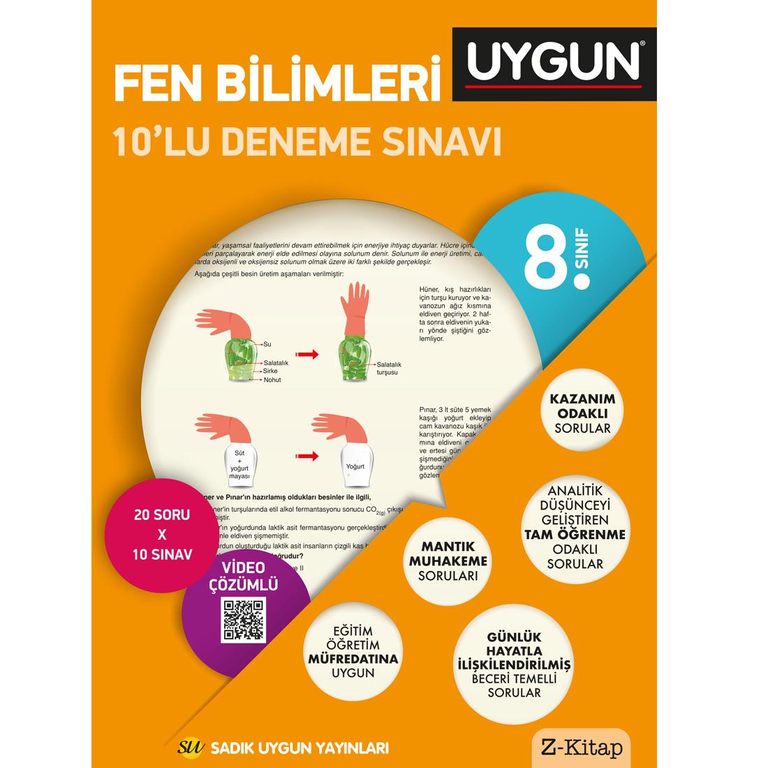 8.Sınıf 8 Deneme Kitabı 10'Lu Fen Bilimleri Sadık Uygun Yayınları