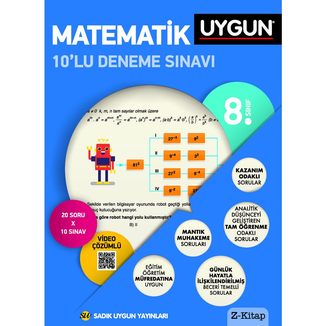 8.Sınıf 8 Deneme Kitabı 10'Lu Matematik Sadık Uygun Yayınları
