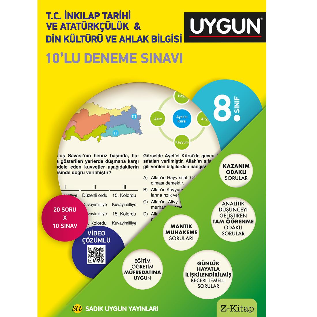 8.Sınıf 8 Deneme Kitabı 10'Lu İnkılap Tarihi Ve Atatürkçülük - Din Kültürü Ve Ahlak Sadık Uygun Yayınları